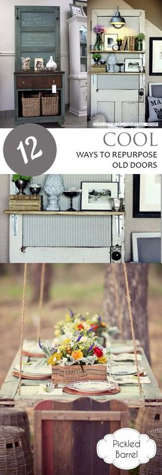 12 Cool Ways to Repurpose Old Doors Old Door Projects, Diy Furniture Projects, Diy Home Decor Projects, Easy Home Decor, Cool Diy Projects, Diy Room Decor, Project Ideas, Old Doors, Diy Table