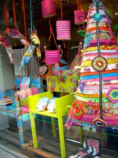 Whimsical christmas window displays | Loving that colorful Christmas Tree! This would be great in a smaller ...