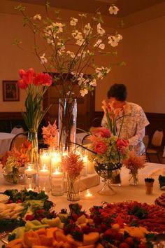Flowers, Reception, Pink, Bouquet, Centerpiece, Green, Orange, La partie events, Roses, Hydrangea, Centerpieces, Rose, Tulip, Florals, Peonies, Unique, Peach, Garden, Tulips, Fun, Peony, Creative, Poppies, Ranunculas, Ranuncula, Poppy