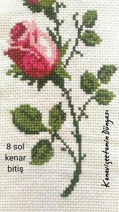 Elif Nur Kitchen Decor - Home creative ideas Cross Stitch Rose, Cross Stitch Borders, Cross Stitch Flowers, Cross Stitch Patterns, Diy Embroidery, Cross Stitch Embroidery, Bargello, My Flower, Kitchen Decor