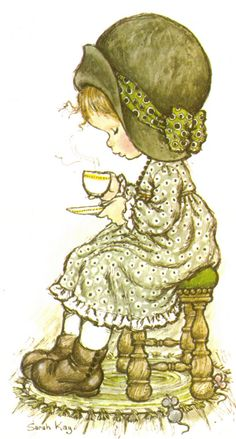 Sarah Kay my cup of tea, stupid Coffee junkies! Sarah Key, Sarah Kay Imagenes, Vintage Cards, Vintage Images, Cute Images, Cute Pictures, Decoupage, Hobby Horse, Holly Hobbie