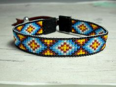 Loom Bracelet Indian Bracelet Beaded by BeadWorkBySmileyKit Bead Loom Bracelets, Beaded Bracelet Patterns, Bead Loom Patterns, Woven Bracelets, Bracelet Designs, Beading Patterns, Beading Ideas, Beading Supplies, Seed Bead Jewelry