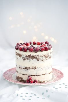 Festive Cranberry Orange and Walnut Layer Cake with whipped mascarpone frosting