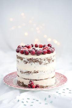 Festive Cranberry Orange and Walnut Layer Cake with whipped mascarpone frosting