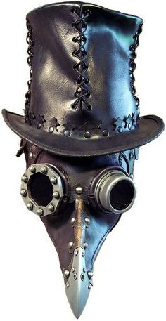 Beulenpest Steampunk Doctor Crows Ravens: Steampunk raven plague doctor's mask with stitched leather top hat.Crows Ravens: Steampunk raven plague doctor's mask with stitched leather top hat. Steampunk Hut, Moda Steampunk, Costume Steampunk, Steampunk Fashion, Steampunk Mask, Steampunk Glasses, Steampunk Weapons, Steampunk Halloween, Steampunk Rings