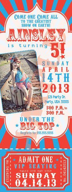 Circus ticket invite  on Etsy, $20.00