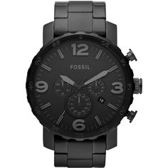 Fossil Men's Chronograph Nate Black-Tone Stainless Steel Bracelet Watch Fossil makes watches that are as cool as they are accessible. This Nate collection timepiece boasts a bold design with structured steel. Herren Chronograph, Black Stainless Steel, Stainless Steel Watch, Stainless Steel Bracelet, Fossil Watches For Men, Cool Watches, Men's Watches, Watches Online, Men Accessories