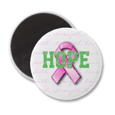 Hope Breast Cancer Pink Ribbon Magnet