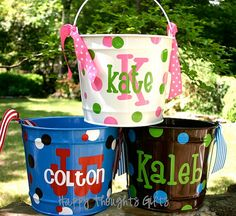 Personalized Easter Bucket   Easter Basket  by happythoughtsgifts