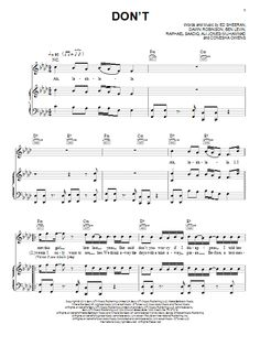 Ed Sheeran: Don't - Partition Piano Voix Guitare (Mélodie Main Droite) - Plus de 70.000 partitions à imprimer !