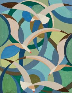 Auguste Herbin, Les Oiseaux. via A Tempera Gallery   This seems to move.