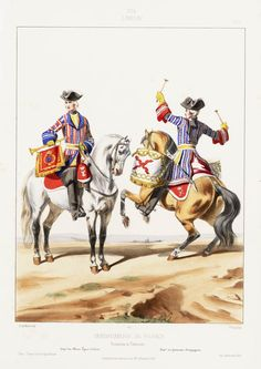 CHURCHILL: 1724. Louis XV. Gendarmerie de France: Trompette et Timbalier; Compagnie des Chevau-Légers d'Orléans; Compagnie des Gendarmes Bourguignons, by Alfred de Marbot.