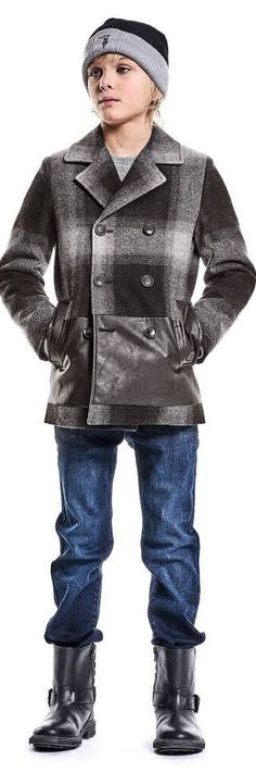 SALE !!! TRUSSARDI Boys Designer Grey Wool Check Coat Leather Trim.  Super Cool Streetwear Look for Boys. Mini Me Boys Fashion Designed in Italy. Inspired by the Trussardi Men's Collection. Luxurious Grey Checked Coat with Soft Synthetic Leather Trim. Complete the Look with a Pair of Trussardi Jeans, Leather Biker Boots & Trussardi Logo Hat. Now On Sale!  #kidsfashion #boy #fashion #trussardi #designer #minime #sale