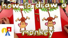 Lots of guided drawing vids here! How To Draw A Monkey Art For Kids Hub, Art Hub, Cartoon Monkey, Monkey Art, Youtube Drawing, Directed Drawing, Year Of The Monkey, Arts And Crafts House, Body Drawing