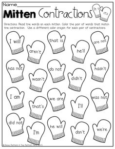 Mitten Contractions! Color the mittens that match the contraction!