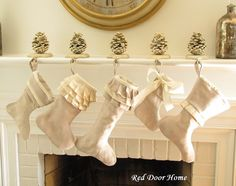 Natural Linen Christmas Stocking Set of 5  Ruffle by RedDoorHome