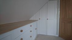 A great fit for a small room. A beautiful painted fitted wardrobe with matching chest of drawers, installed in Cornwall. Fitted Wardrobes, Custom Made Furniture, Chest Of Drawers, Cornwall, Your Design, Kitchen Cabinets, Bedroom, Fitness, Beautiful