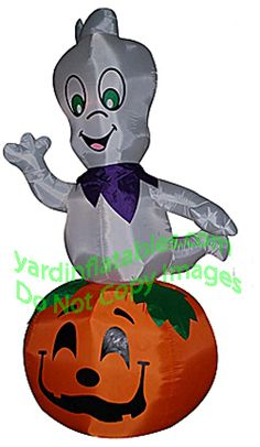 airblown inflatable spinning casper the friendly ghost on pumpkin