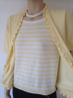 VINTAGE YELLOW STRIPED TWIN SET KNITTED SWEATER CARDIGAN 40s 50s 60s ROCKABILLY