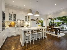 Darren & Deanne Jolly's Edwardian house. 17 Empress Road, Surrey Hills, Vic 3127. Love the layout of the shaker style kitchen