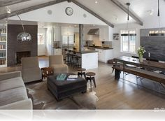 open plan kitchen dining living room modern sunroom - Google Search