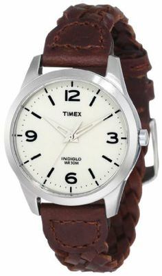 Timex Women's T2N644 Weekender Classic Casual Woven Leather Strap Watch Timex. $32.55. Woven Genuine Leather Strap. Indiglo® Night-Light. Water-resistant to 30 meters. Indiglo night-light. Brushed/Polished Silver-Tone Finish Case. Save 28%!