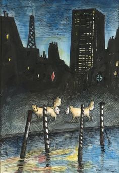 Roland Topor - Surrealistic Composition (Two Dogs with Masks), 1986