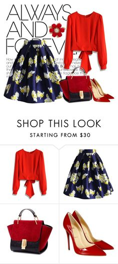 Red top and floral skirt by chicwish on Polyvore featuring Chicwish, Christian Louboutin, women's clothing, women's fashion, women, female, woman, misses and juniors