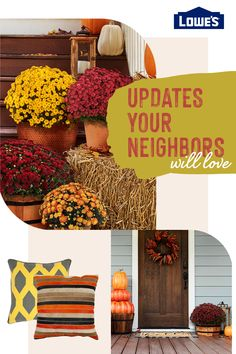 Update your outdoors and increase the curb appeal for your home this coming fall Fall Home Decor, Autumn Home, Diy Home Decor, Holiday Decor, Porch Decorating, Curb Appeal, Home Projects, Sweet Home, Home And Garden