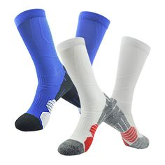 Men's Outdoor Socks NIcool Athletic Sports Knee High Soft Soccer Socks,White&Blue,Pack of 2. FASHION COLORFUL: Blue,Pale Green,White, Dark Blue,Reddish Orange -- making you always lead the fashion; FITS FOR ALL OCCASIONS: Use as basketball socks, football socks,soccer socks,volleyball socks, softball socks, baseball socks, lacrosse socks, field hockey socks, roller derby socks, track socks, school uniforms socks or just casual wear socks. DESIGN: 1.Mid calf socks, provides protection from...