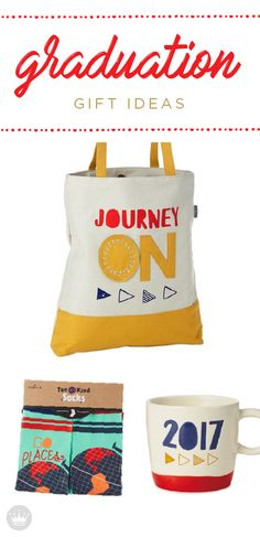 When thinking of the perfect graduation gift, look through these festive gifts from Hallmark. Choose from dated mugs, decorative socks and this Journey On Tote Bag. It is a great gift to use when hauling around books, travel essentials and other necessities.