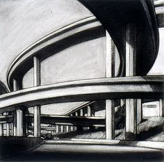 """Tony Peters """"105 over the 110 Freeway"""" Charcoal drawing on paper, 18 x 18 inches. www.tonypetersart.com"""