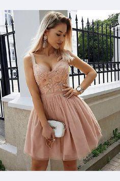 21b9e3a9ecd10 Customized Luscious Lace Homecoming Dresses Broad Spaghetti Strap Lace  Applique Rose Tulle Mini Homecoming Dresses