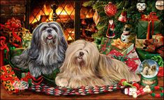 "Lhaso Apso Christmas Holiday Cards are 8 1/2"" x 5 1/2"" and come in packages of 12 cards. One design per package. All designs include envelopes, your personal message, and choice of greeting. Select your greeting from the drop-down menu above.Add your personal message to the Comments box during checkout."
