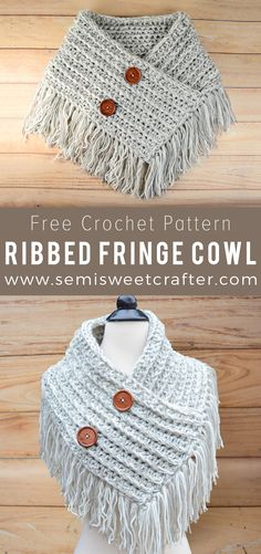 The FREE Crochet Ribbed Fringe Cowl Pattern will whip up quick with unlimited color ways for every fashionista. www.semisweetcrafter.com