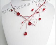 collar rojo, damas de honor collar, collar de ilusión delicado, collar de favor de la boda, regalos de las damas de honor, regalo de los días la madre, joyería de bodas