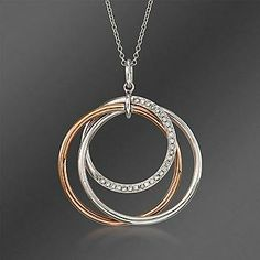 """Ross-Simons - Simon G. .15 ct. t.w. Intertwined Diamond Circle Pendant Necklace in 18kt Two-Tone Gold. 17"""" - #813247"""