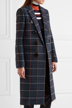 Victoria Beckham | Embroidered houndstooth wool coat | NET-A-PORTER.COM