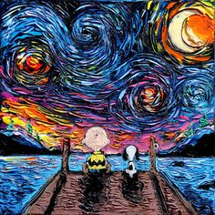 Snoopy and Charlie Brown Art - Starry Night print van Gogh Never Sat On The Dock Of The Bay by Aja 8x8, 10x10, 12x12, 20x20, 24x24 choose