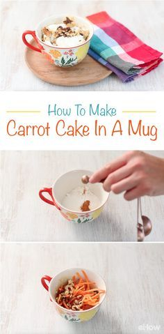 Perfect for one, but easy enough to make many! This carrot cake is a delicious recipe that you can make in just minutes in a mug!  Grab the recipe and instructions here [Video included]: http://www.ehow.com/how_12343191_make-carrot-cake-mug.html?utm_source=pinterest.com&utm_medium=referral&utm_content=freestyle&utm_campaign=fanpage