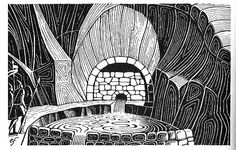 """Pictures from an Old Book: """"The Hobbit"""", JRR Tolkien (first published in 1937 by George Allen & Unwin). Illustrations by Eric Fraser"""