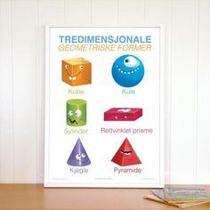 Plakat med de vanligste tredimensjonale geometriske formene. White Out Tape, Vans, Education, Poster, Shopping, Creative, Van, Teaching, Training