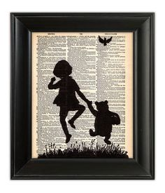 Winnie the POOH Bear Skipping Milne Illustration Silhouette Art Print Poster on Upcycled Antique 1930s English Dictionary Book Page 8x10