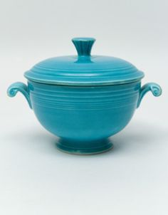 rare vintage fiesta turquoise covered onion soup bowl for sale - Fiestaware Sale