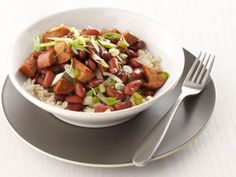 Monday-Night Red Beans and Rice NEED: scallions, smoked turkey sausage, green peppers