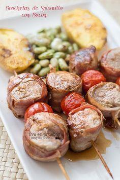 Brochetas de Solomillo con Bacon / Eva en pruebas Barbacoa, Seafood Recipes, Grilling, Yummy Food, Vegetables, Cooking, Aurora, Diabetes, Deco