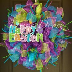 Hey, I found this really awesome Etsy listing at https://www.etsy.com/listing/179844848/deluxe-happy-easter-deco-mesh-wreath