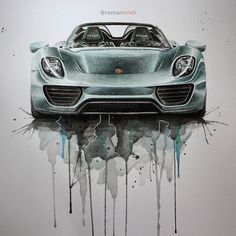 Porsche 918 Spyder watercolour. Movie Characters Drawings and More. By Rayhan Miah.