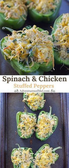 Chicken stuffed peppers with spinach and melted cheese, baked in the oven. Healthy, low carb, delicious dinner idea perfect for a weeknight meal.