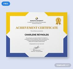 Download this yellow and blue certificate template that your school can use. Perfect for any type of achievement that can be used as an appreciation, recognition, training, or for participation purposes. Editable and printable. Download this for free. Certificate Layout, Certificate Of Merit, Certificate Design Template, Free Certificates, Certificate Frames, Certificate Of Appreciation, School Certificate, Travel Brochure Design, Powerpoint 2010